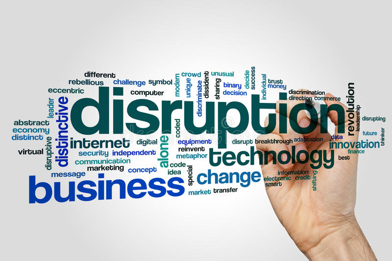 Disruption word cloud concept on grey background royalty free stock images