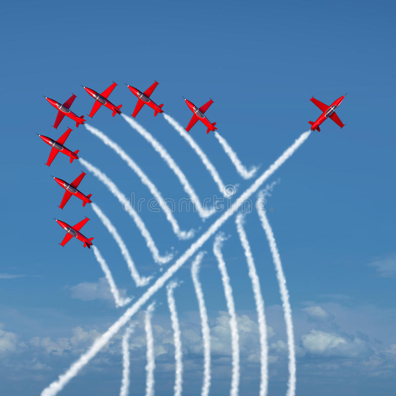 Disruptive-Innovation. Disruptive innovation Independent leadership concept and individuality as a group of acrobatic jets with one individual jet going in the vector illustration