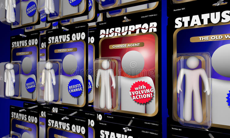Disruptor Action Figure Change Agent Vs Status Quo. 3d Illustration royalty free illustration