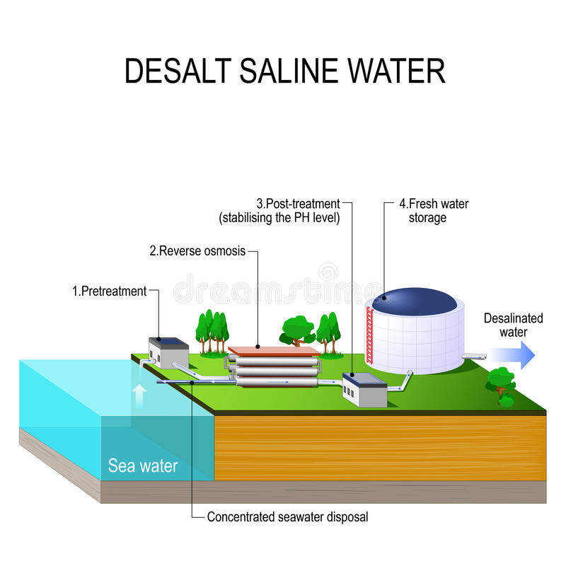 Dissali l'acqua salina illustrazione vettoriale