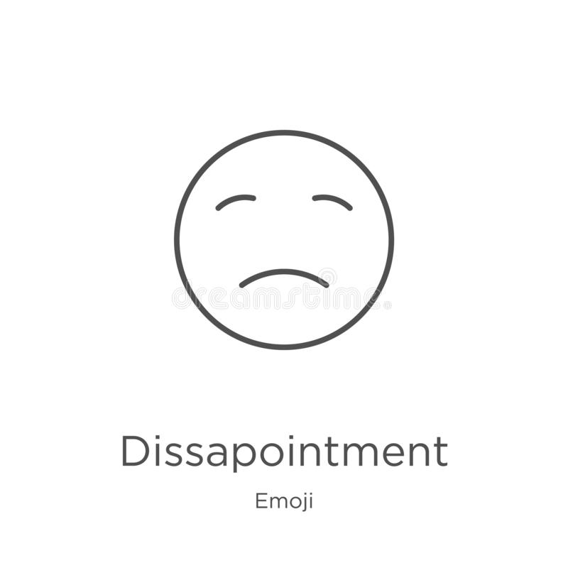 dissapointment icon vector from emoji collection. Thin line dissapointment outline icon vector illustration. Outline, thin line royalty free illustration