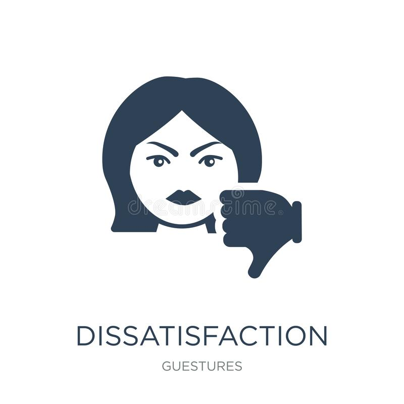 dissatisfaction icon in trendy design style. dissatisfaction icon isolated on white background. dissatisfaction vector icon simple vector illustration