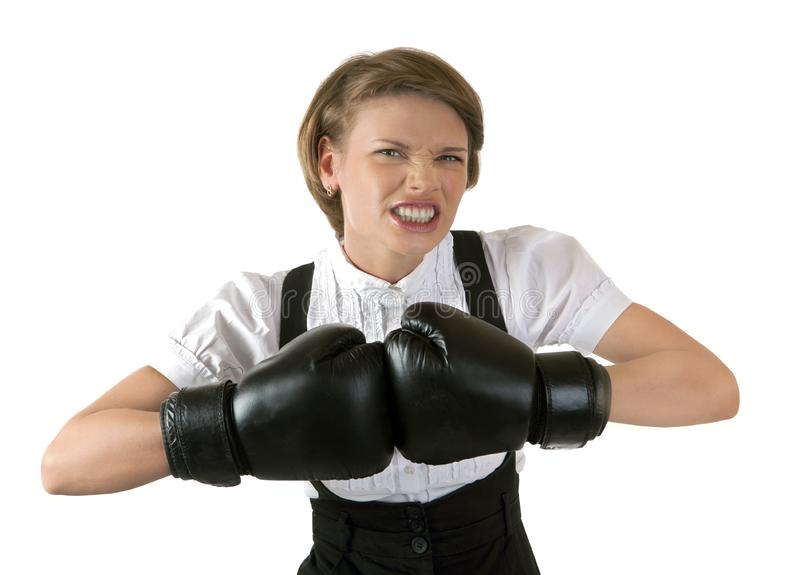 Download The Dissatisfied Girl In Boxing Gloves Stock Image - Image of occupation, competition: 20063143