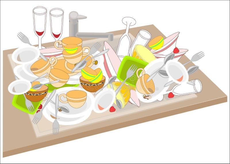 Dissipador de cozinha Os pratos sujos enchem o dissipador As bacias, copos, colheres, forquilhas, vidros deixaram cair em uma pil ilustração royalty free