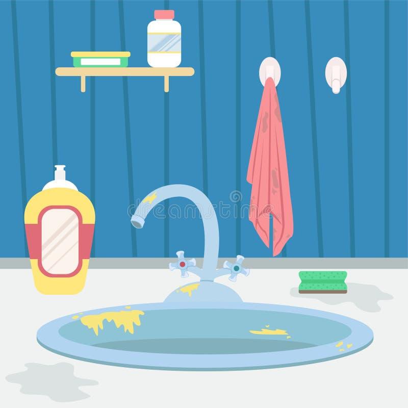 Dissipador de cozinha sujo housework Ilustra??o lisa do vetor do estilo dos desenhos animados ilustração royalty free