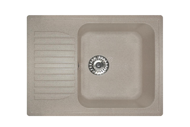 Dissipador de pedra feito do quadrado do granito na cor cinzenta, isolado no fundo branco imagem de stock royalty free