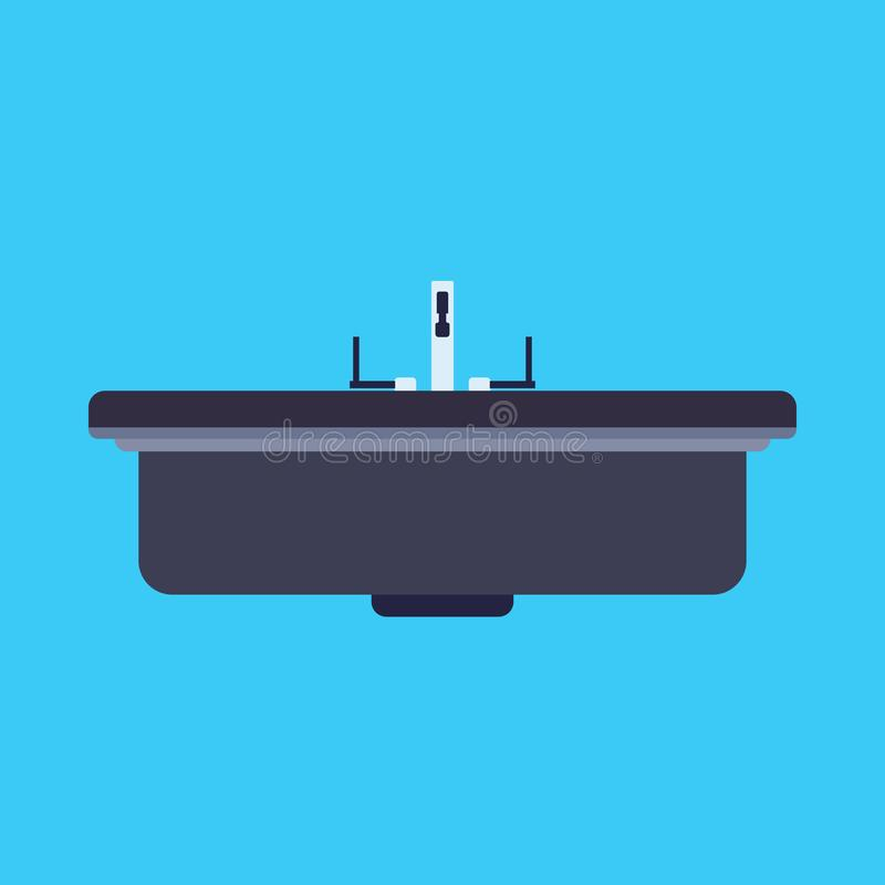 Dissipador do banheiro do ícone do vetor da bacia de lavagem Equipamento doméstico do fauet da água Mobília interior do elemento  ilustração stock