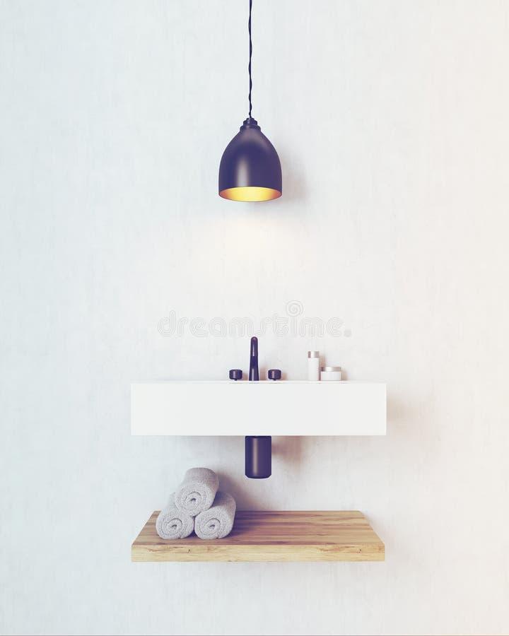 Dissipador do banheiro com a prateleira de madeira sob ela, tonificado ilustração do vetor
