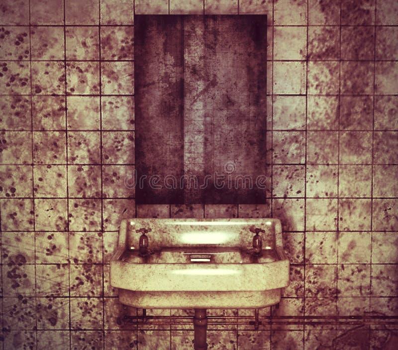 Dissipador e espelho em um toalete abandonado ilustração royalty free