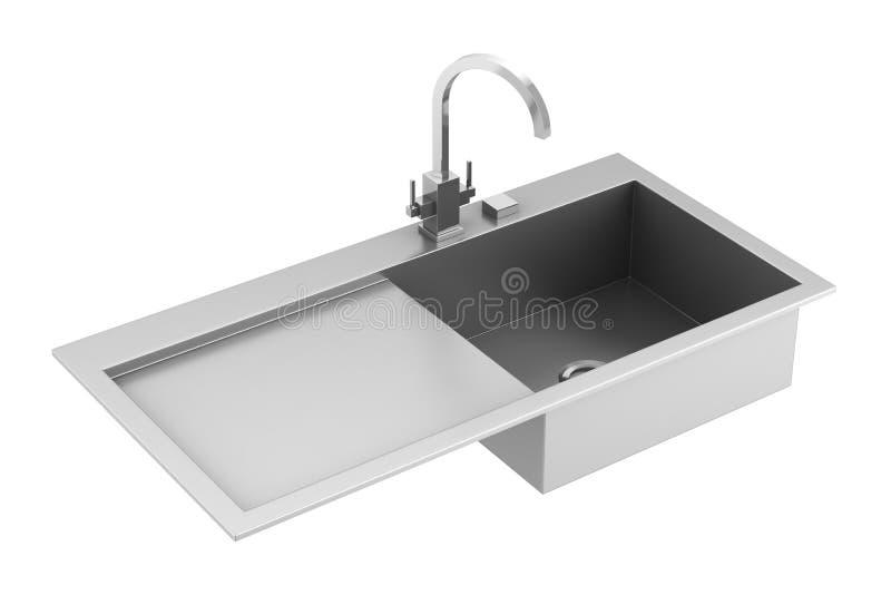 Dissipador moderno do metal isolado no branco ilustração stock