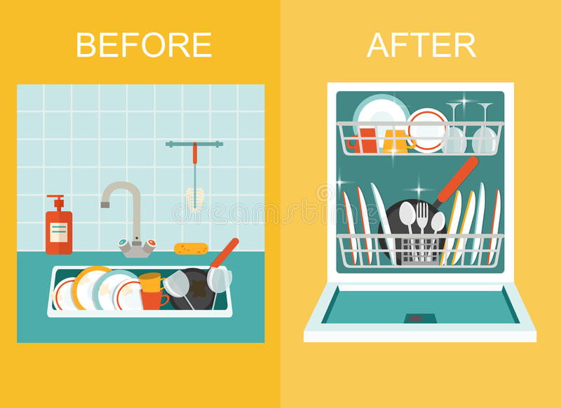 Dissipador sujo com kitchenware, utensílio, pratos, detergente do prato e uma esponja Abra a máquina de lavar louça com pratos li ilustração do vetor