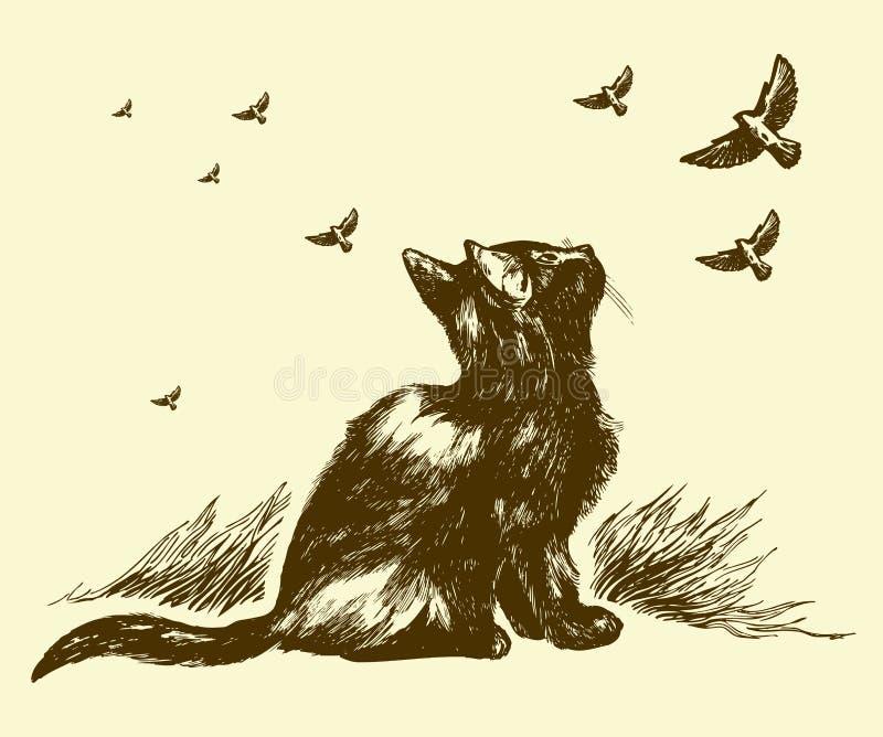 Dissipare degli uccelli e del gatto royalty illustrazione gratis