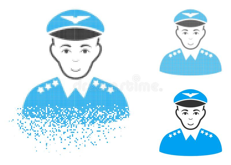 Dissipated Pixel Halftone Military Pilot Officer Icon with Face vector illustration