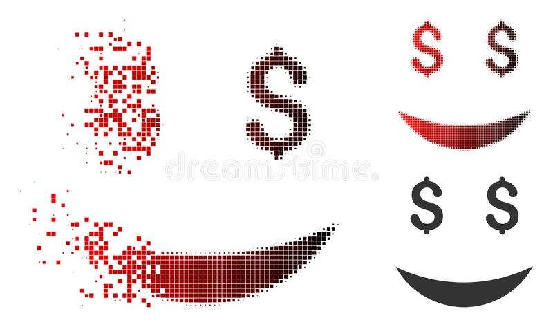 Dissipated Pixel Halftone Millionaire Smiley Icon. Millionaire smiley icon in dispersed, pixelated halftone and undamaged entire versions. Points are grouped stock illustration