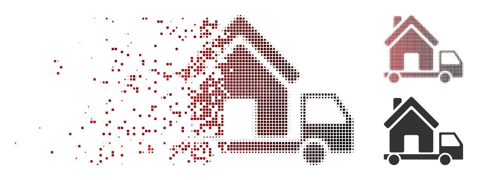 Dissipated Pixel Halftone Mobile House Icon. Vector mobile house icon in dissolved, pixelated halftone and undamaged entire variants. Disintegration effect uses vector illustration