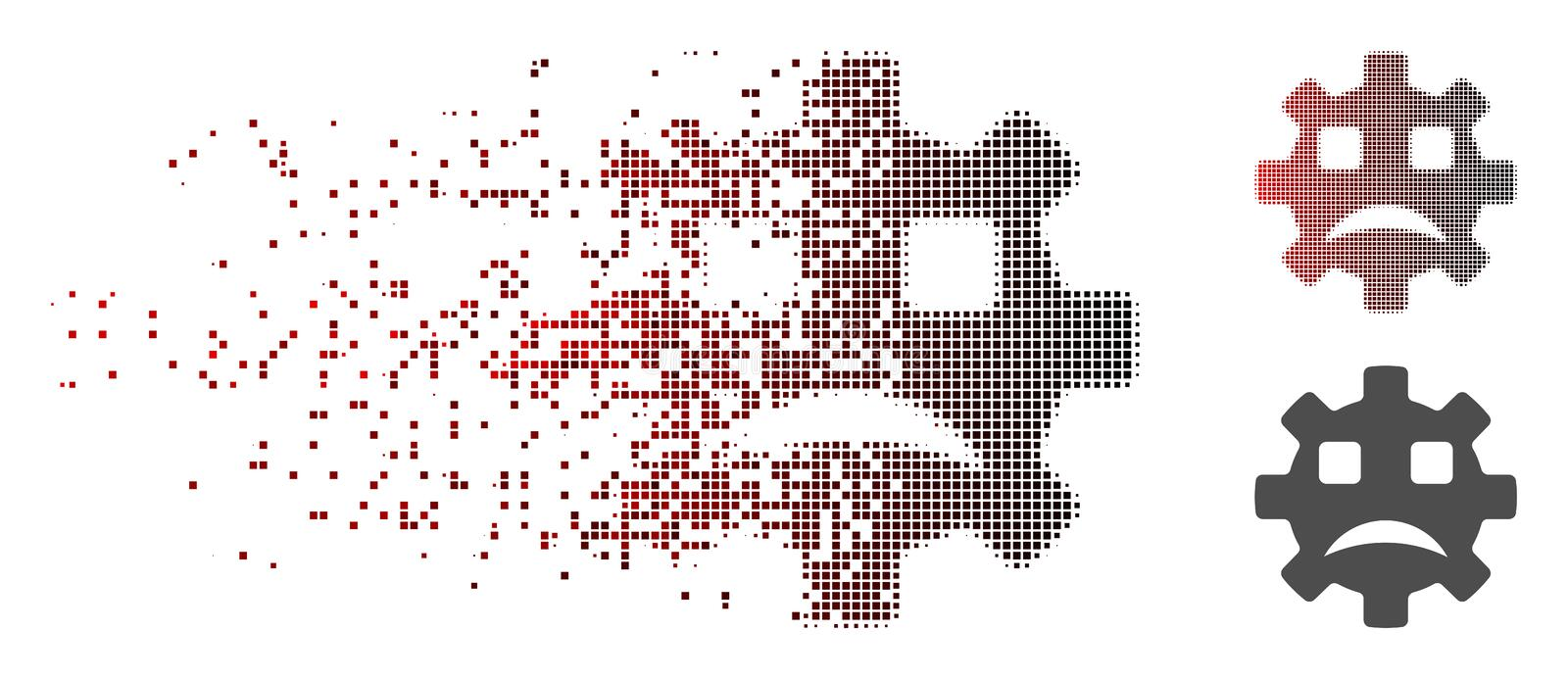 Dissipated Pixel Halftone Sad Service Gear Smiley Icon. Vector sad service gear smiley icon in dissolved, pixelated halftone with red to black horizontal stock illustration