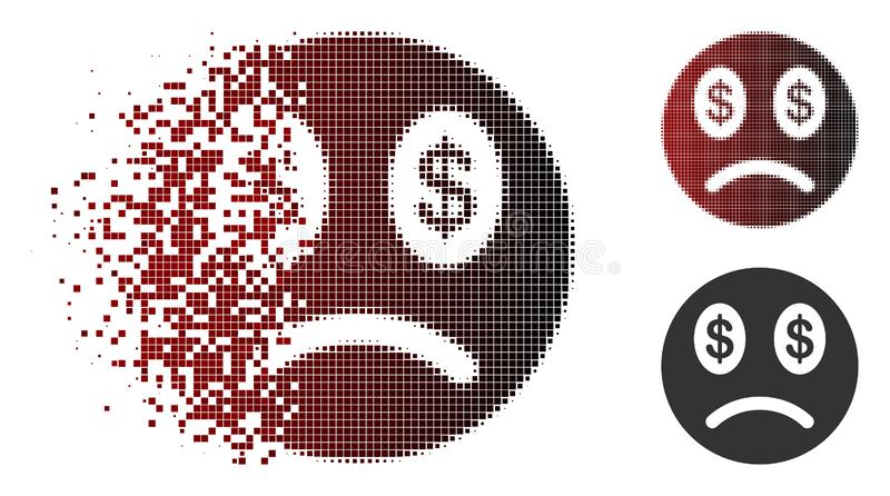Dissipated Pixelated Halftone Sad Business Smiley Icon. Sad business smiley icon in sparkle, pixelated halftone and undamaged entire versions. Pixels are vector illustration