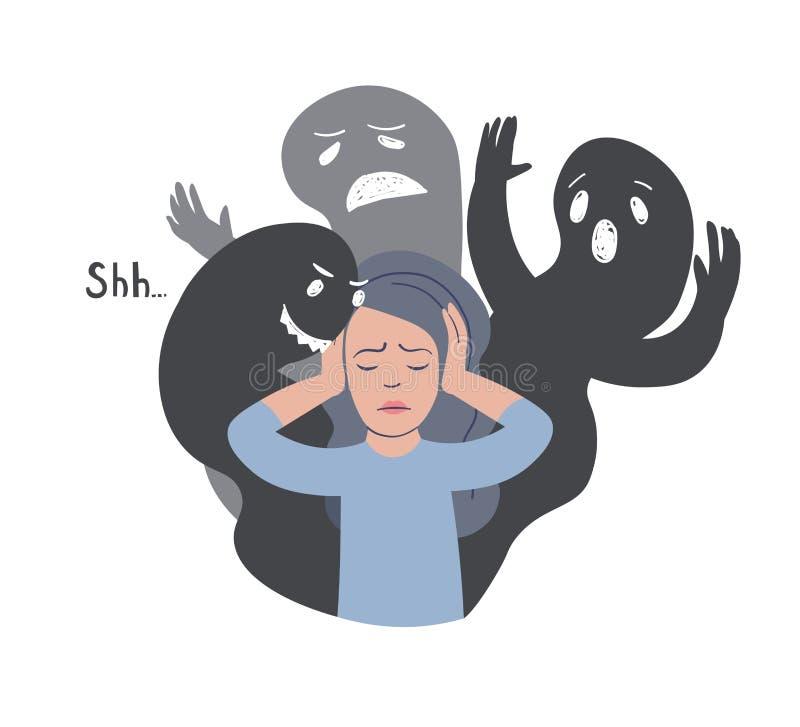 Dissociative illustration för identitetsoordningvektor Kvinna med andra framsidakonturer Personlighetsklyvningoordning vektor illustrationer