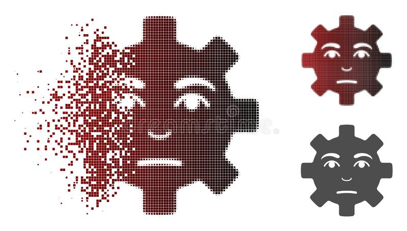 Dissolved Dot Halftone Pity Service Gear Smiley Icon. Pity service gear smiley icon in fractured, dotted halftone and undamaged entire versions. Pixels are stock illustration