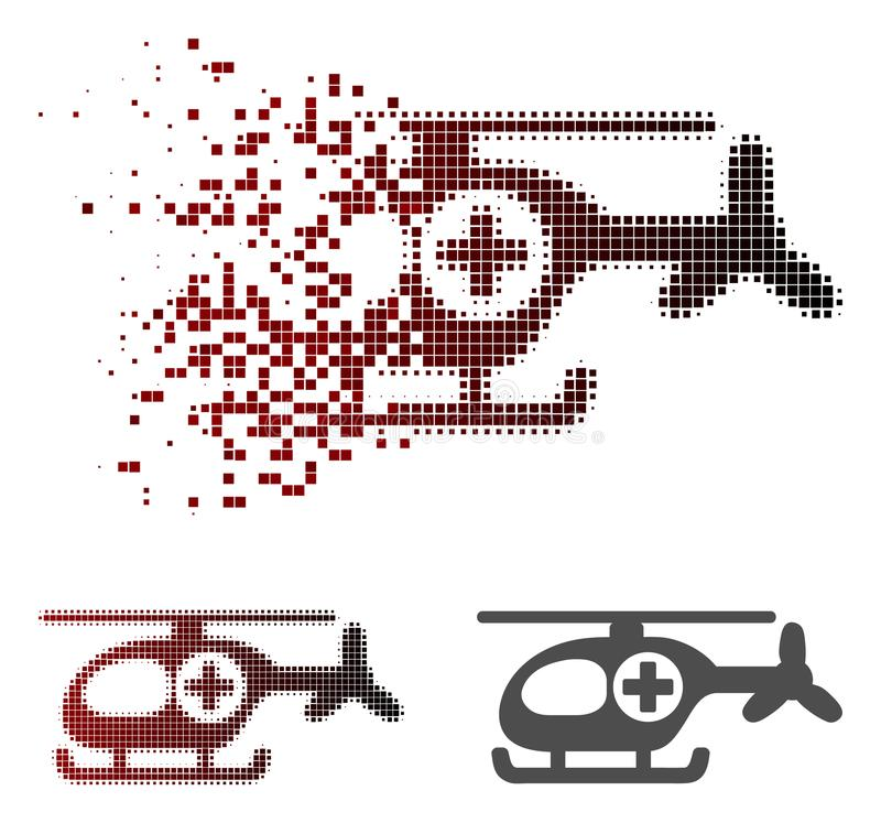 Dissolved Dotted Halftone Helicopter Icon. Helicopter icon in fractured, pixelated halftone and undamaged entire versions. Particles are organized into vector vector illustration