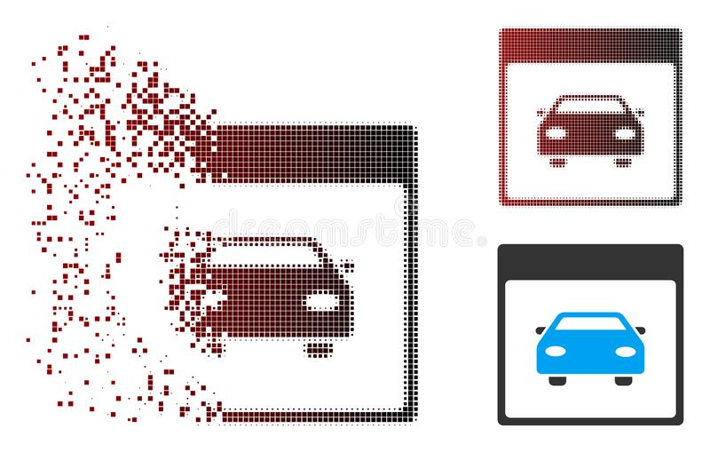 Dissolved Pixel Halftone Automobile Car Calendar Page Icon. Vector automobile car calendar page icon in sparkle, pixelated halftone and undamaged solid variants royalty free illustration
