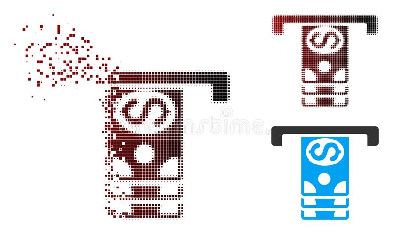 Dissolved Pixel Halftone Banknotes Withdraw Icon. Vector banknotes withdraw icon in fractured, pixelated halftone and undamaged solid versions. Disappearing stock illustration