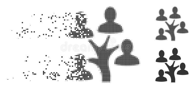 Dissolved Pixel Halftone Genealogy Tree Icon. Grey vector genealogy tree icon in dissolved, pixelated halftone and undamaged entire versions. Rectangular dots stock illustration