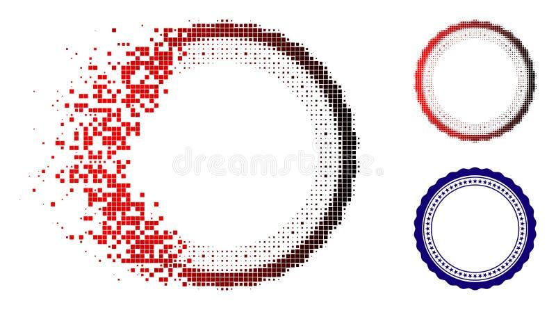 Dissolved Pixel Halftone Rosette Circular Star Frame Icon vector illustration