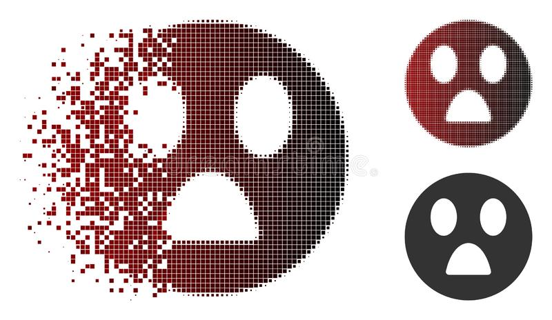 Dissolved Pixel Halftone Wonder Smiley Icon. Wonder smiley icon in sparkle, pixelated halftone and undamaged entire versions. Pieces are arranged into vector stock illustration
