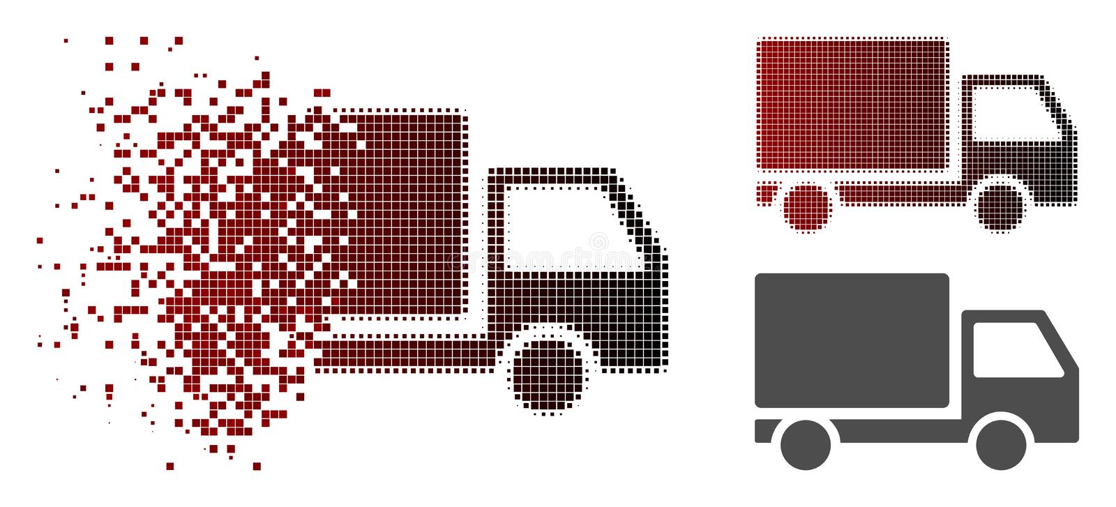 Dissolved Pixelated Halftone Delivery Lorry Icon. Delivery lorry icon in sparkle, pixelated halftone and undamaged entire variants. Particles are grouped into stock illustration