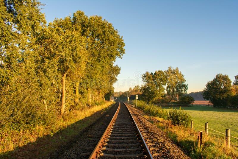 Distância infinita: Trilha de estrada de ferro a em nenhuma parte foto de stock royalty free