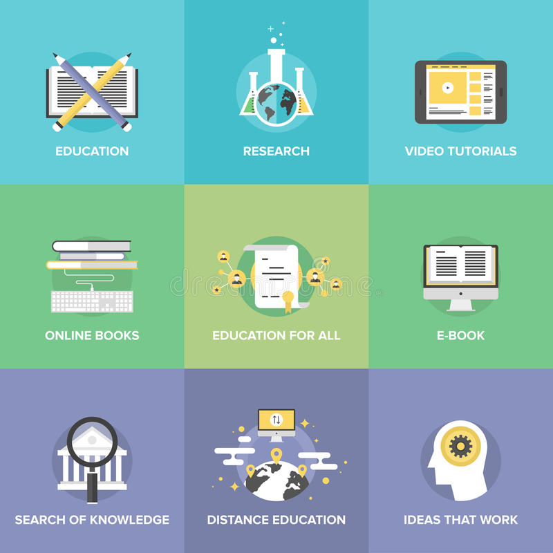 Distance education flat icons set vector illustration
