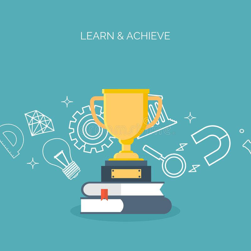 Distance education,learning. Online courses and web school. Knowledge information. Study process. Educational management. Distance education,learning. Online stock illustration