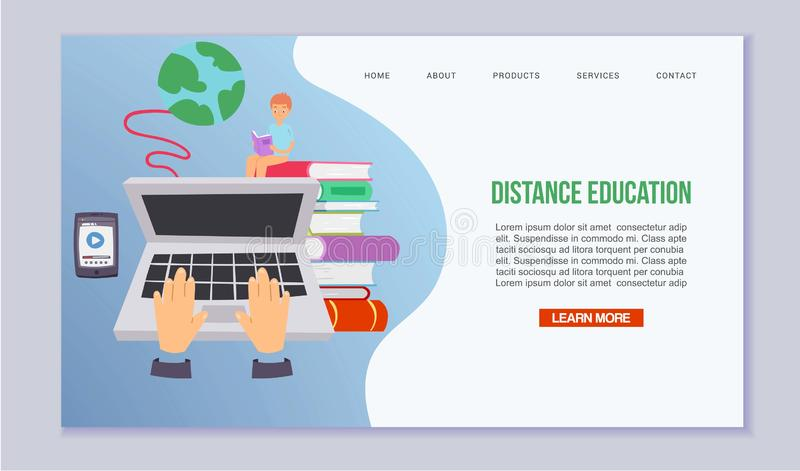 Distance education and learning vector illustration. Online courses and web school for children with laptop, mobile app royalty free illustration