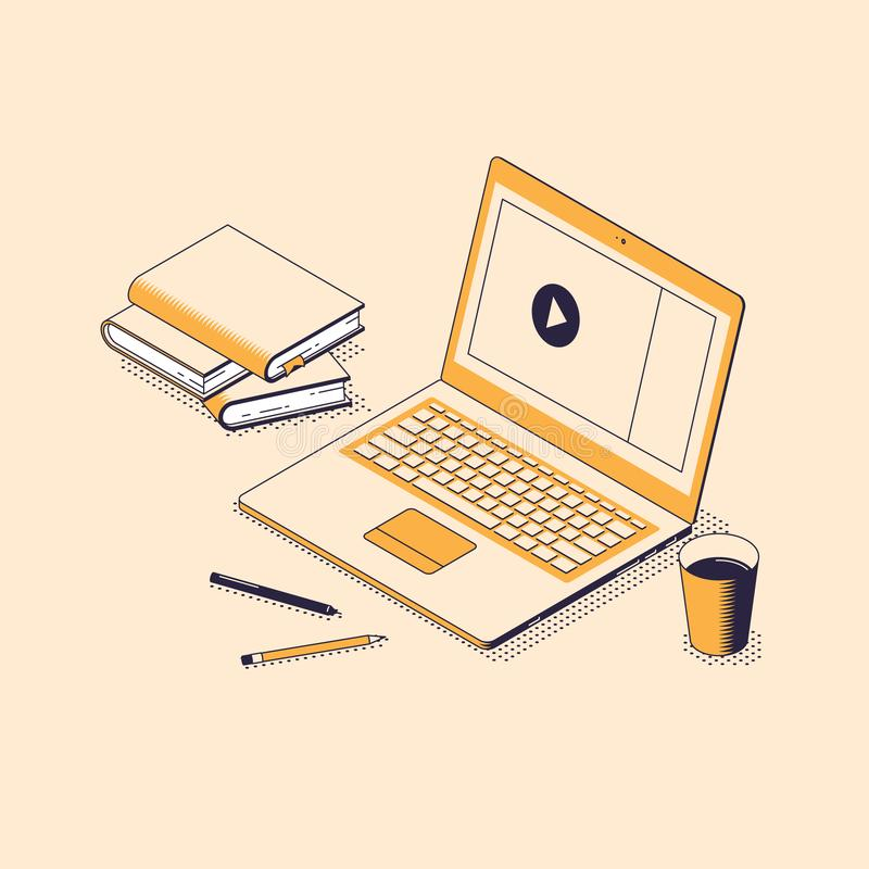 Distance education with video webinar or tutorial isometric concept. vector illustration