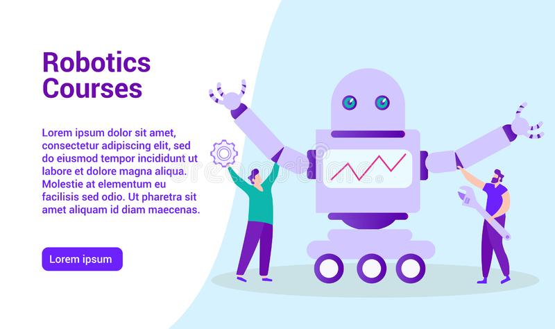Distance Learning. Robotics Courses. E-Learning. Distance Learning. Robotics Courses. Distance Learning. Lesson Online. E-Learning. Online Training. Man with vector illustration