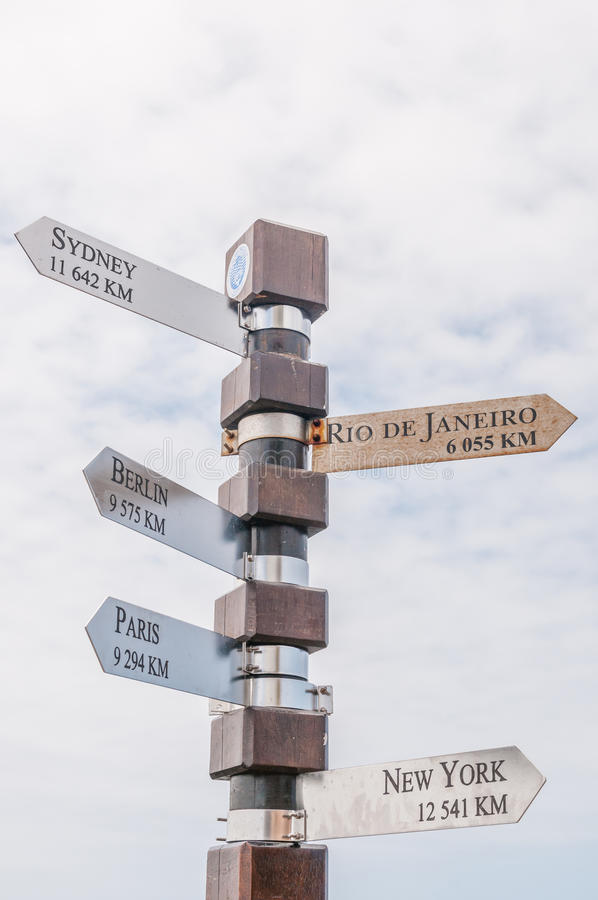 Distance marker at Cape Point. In the Table Mountain National Park royalty free stock images
