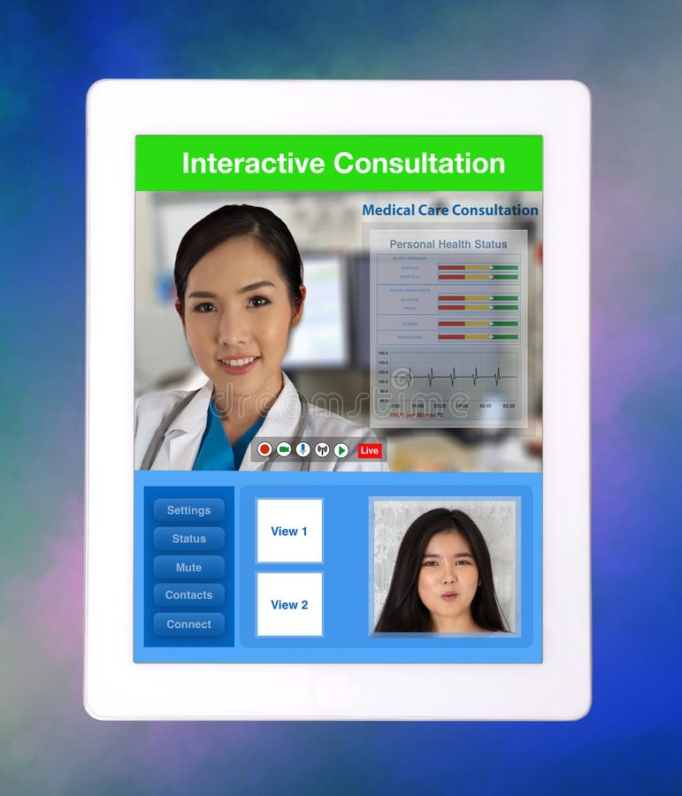 Distance medical consultation between doctor and patient show on. Medical technology of distance medical consultation between doctor and patient show on digital stock images