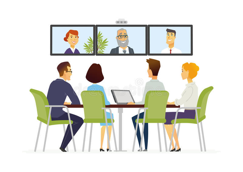 Distance meeting modern vector business cartoon - Football conference south league table ...