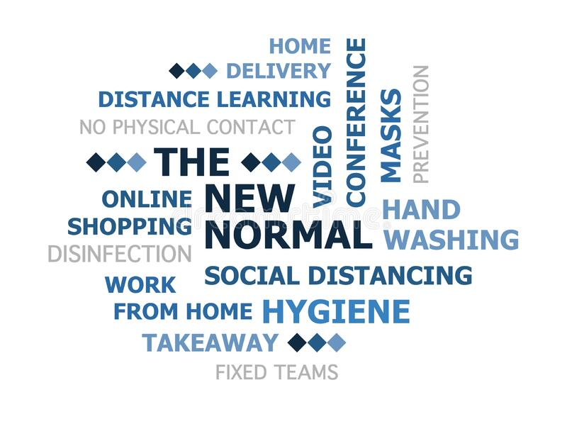 Distance the new normal tag cloud. New Normal, social distancing after coronavirus concept tag cloud blue gradient white background isolated royalty free illustration