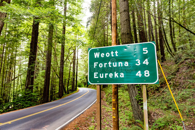 A distance road sign on Avenue of the Giants. A road sign on Avenue of the Giants in Redwood National and State Parks, California royalty free stock images