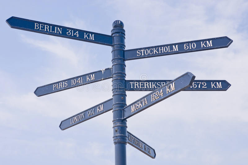 Distance sign. In southern Sweden royalty free stock photo