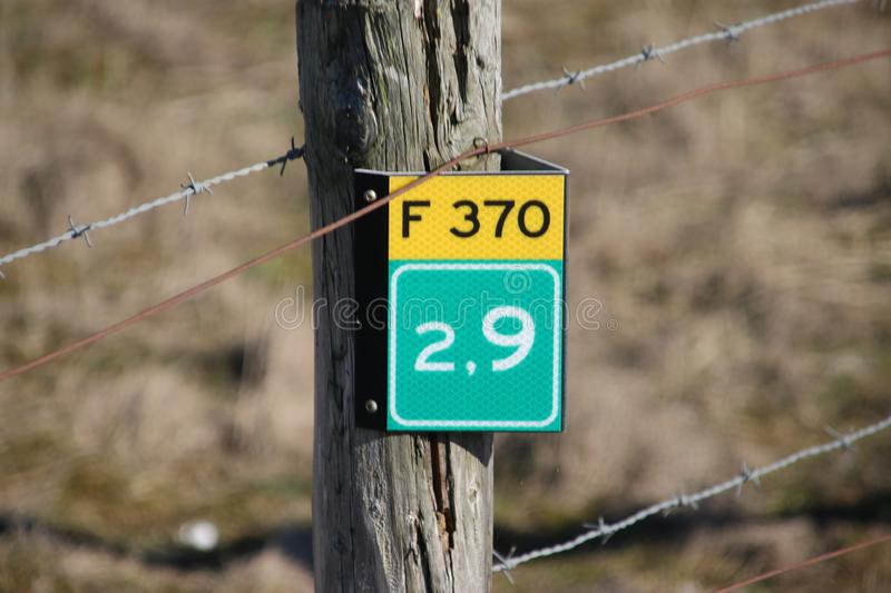 Distance sign in kilometers on the cycle route F370 at the coast of Monster. royalty free stock photo