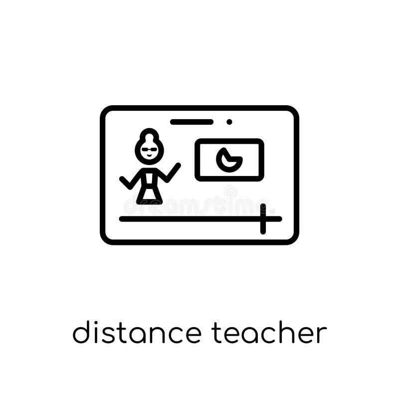 distance teacher icon. Trendy modern flat linear vector distance stock illustration