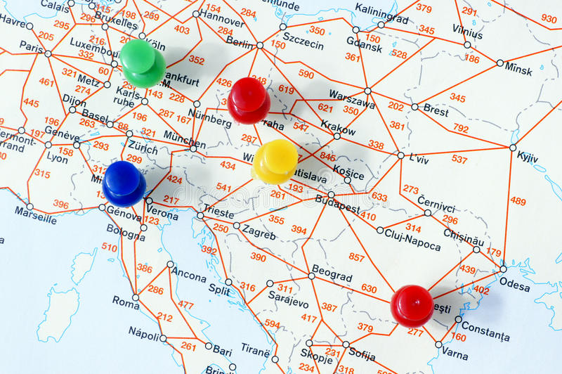 Distances entre les villes. images stock