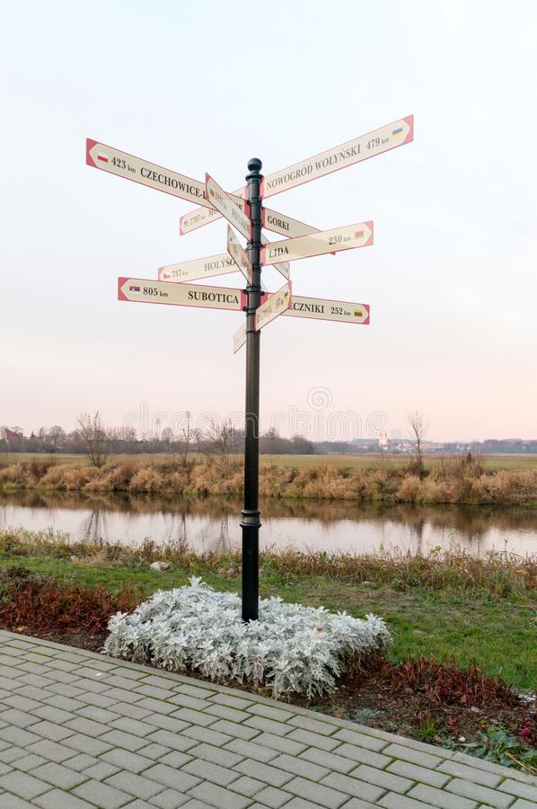 Distances in kilometers form Lomza in Poland showing distances t. O others place royalty free stock photos