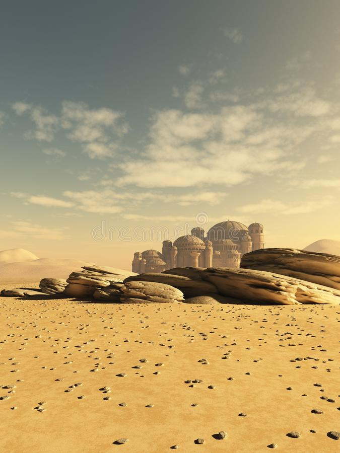 Distant Desert Town royalty free illustration