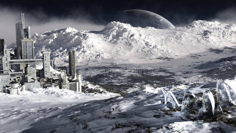 Distant Ice Planet Environment royalty free stock photography