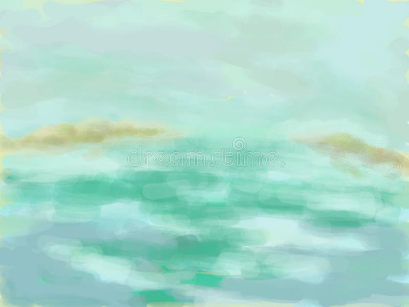 These distant island. Sketch of distant Islands in the azure sea, in the technique of watercolor painting stock illustration