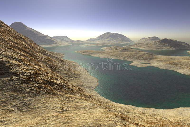 Distant lake sunrise vector illustration